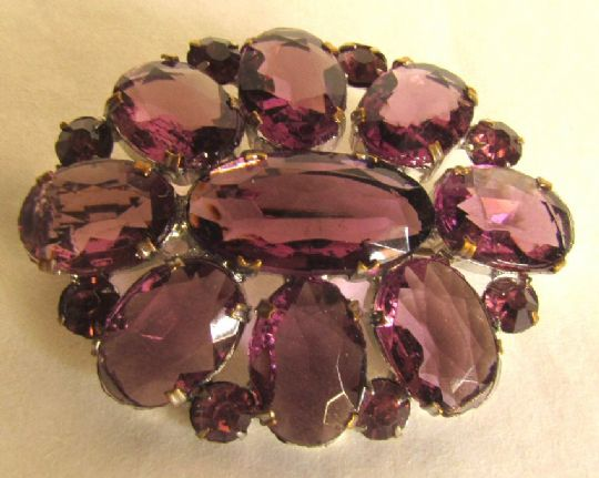 Main photo for Amethyst Glass Art Deco Brooch