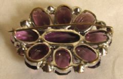 Photo 3 for Amethyst Glass Art Deco Brooch