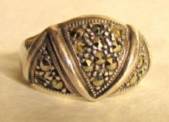 Photo 1 for Art Deco Silver & Marcasite Ring
