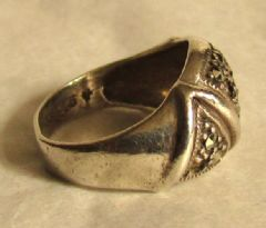 Photo 2 for Art Deco Silver & Marcasite Ring