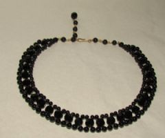 Photo 1 for Black Glass Art Deco Necklace Double Strand Choker