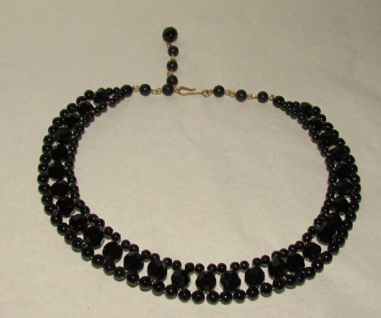 Main photo for Black Glass Art Deco Necklace Double Strand Choker