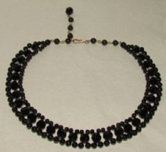 Photo 2 for Black Glass Art Deco Necklace Double Strand Choker