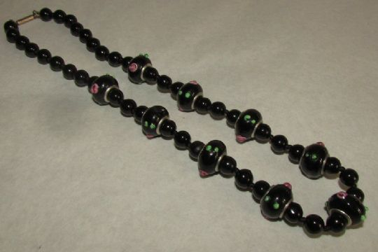 Main photo for Black Glass 'Lampwork' Art Deco Necklace