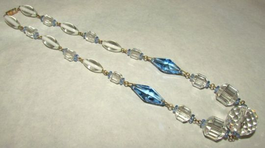 Main photo for Blue/Clear Glass Bead Art Deco Necklace