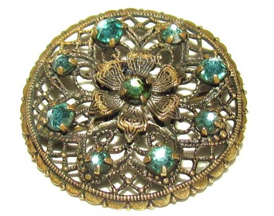 Main photo for Czech Glass & Pierced Metal Small Round Brooch