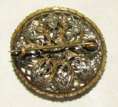 Photo 2 for Czech Glass & Pierced Metal Small Round Brooch