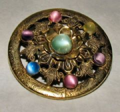 Photo 1 for Czech Pearlised Glass & Brass Brooch
