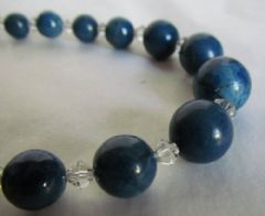 Photo 2 for Graduated Lapis & Clear Glass Necklace
