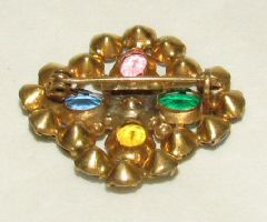 Photo 2 for Multicoloured Paste & Gilt Metal Art Deco Brooch