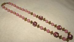 Photo for Pink Glass Bead & Lampwork Art Deco Necklace