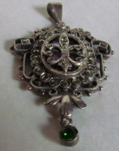 Photo 1 for SILVER & MARCASITE & GLASS PENDANT