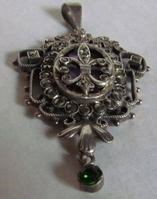 Main photo for SILVER & MARCASITE & GLASS PENDANT