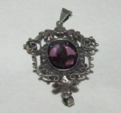 Photo 2 for SILVER & MARCASITE & GLASS PENDANT