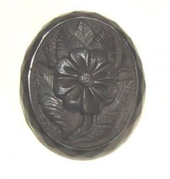 Photo 2 for Victorian Carved Jet Flower Brooch