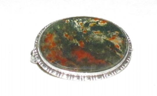 Main photo for Victorian Moss Agate & Silver Brooch
