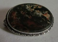 Photo 2 for Victorian Moss Agate & Silver Brooch