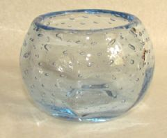 Photo 2 for Webb's Blue Bubble Glass Vase